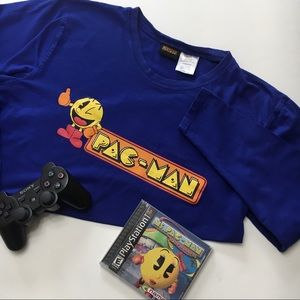 Pac-Man Long Sleeve Blue Gamer Graphic T, sz M